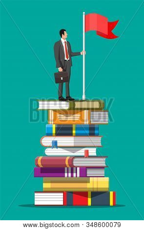 Businessman With Flag On Stack Of Books. Business Man With Briefcase. Education And Study. Business
