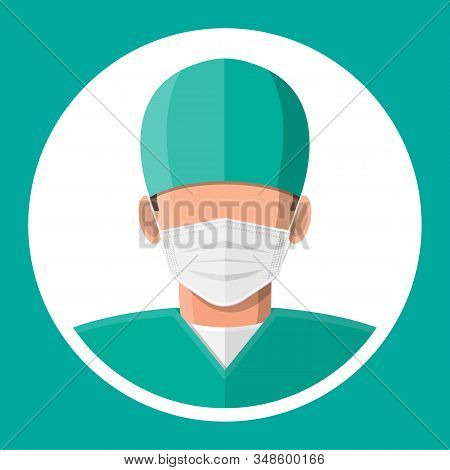 Surgery Personal In Uniform Icon. Doctor Surgeon In Mask. Healthcare, Hospital And Medical Diagnosti