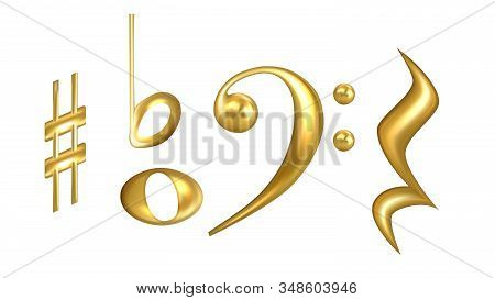 Clefs Musical Symbols In Golden Color Set Vector. Collection Of Classic Clefs, Sharp Key Raise, Semi