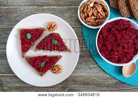 Beetroot Caviar. Simple, Tasty And Healthy Vegetable Snack. Sliced Rye Bread With Beetroot Caviar. L