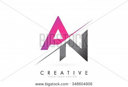 An A N Letter Logo With Color Block Design And Creative Cut. Creative Logo Design.