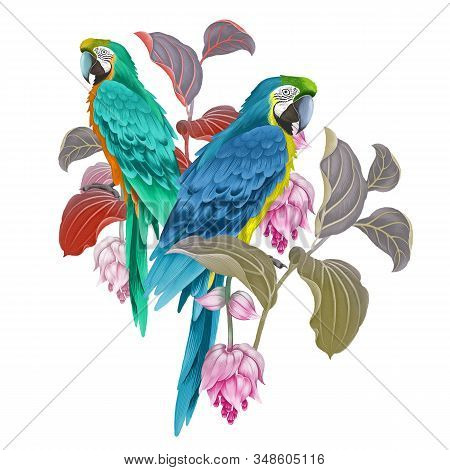 Motley Parrots On The Branches Of A Blossoming Tree Isolated On A White Background. Exotic Floral De