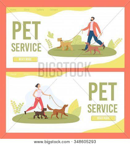 Dog Walker, Pet Service Trendy Flat Vector Web Banner, Landing Page Template. Female, Male Gog Walke