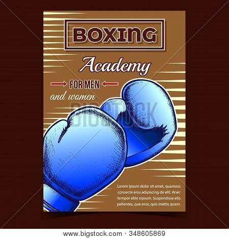 Boxing Academy For Men And Women Banner Vector. Boxing Gloves Protect Sportive Wear With Foam Which