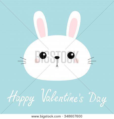 Happy Valentines Day. Rabbit Bunny Head Face Round Icon. Cute Cartoon Kawaii Funny Baby Kids Charact