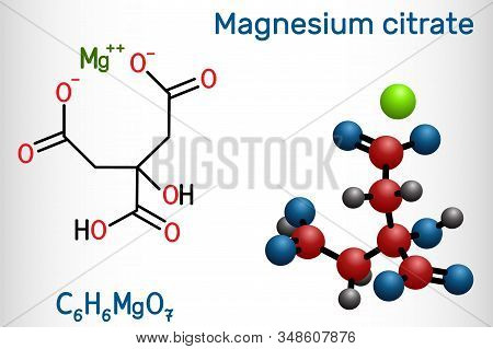 Magnesium Citrate, C6h6mgo7 Molecule. It Is Food Additive E345. Structural Chemical Formula And Mole