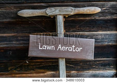 Antique Lawn Aerator. Old Vintage Agricultural Technologies Of The Past Century In The Museum, Koote