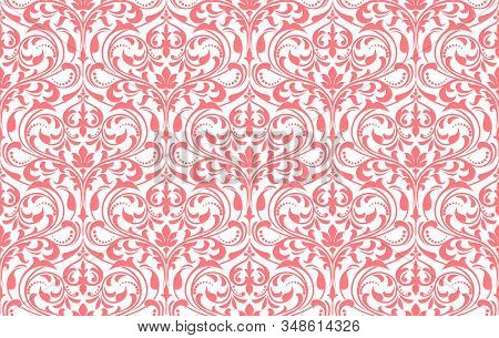 Floral Pattern. Vintage Wallpaper In The Baroque Style. Seamless Vector Background. White And Pink O