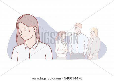 Outcast, Lonely, Isolation, Relation, Social, Concept. Teen Social Acceptation Difficulty. Derelict