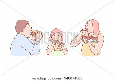 Fast Food, Taste, Obesity, Calories, Concept. Family Eating Tasty, Unhealthy, High Caloric, Harmful