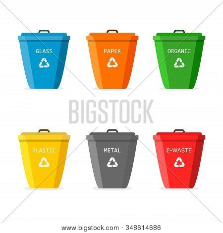 Garbage Bin With Recycle Icon. Set For Trash. Big Containers For Recycling Waste Sorting - Plastic,