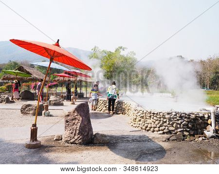 Chiangmai , Thailand - November 18, 2020: Tourist At Sankamphaeng Hot Spring In Chiangmai Province,