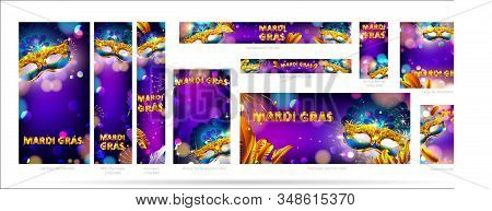 Mardi Gras Carnival Mask Web Banner Ad Poster Background With Bokeh Effect For Celebration Greeting