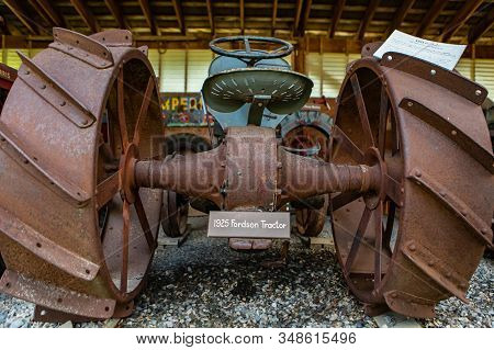 An Old Vintage Agricultural Fordson Tractor In The Museum, Kootenays, British Columbia, Canada. Clos