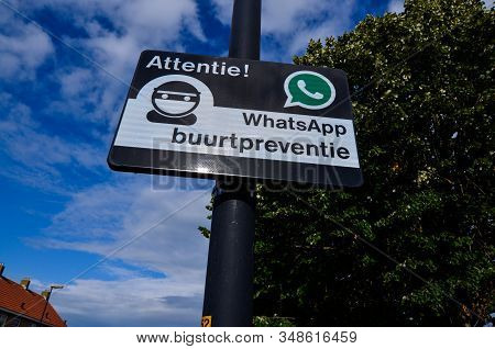 Edam, Netherlands, August 2019. A Sign Indicating A Neighborhood Watch Is Active In The Area, Using