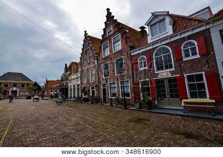 Edam, The Netherlands, August 2019. The Architecture Of The Edam Lodges Is A Characteristic Example