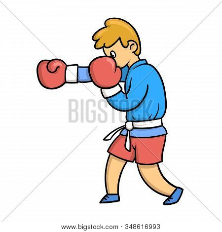 Cartoon Martial Arts Fighter. Boxing Teenager In Traditional Fighting Clothing With Boxing Gloves. F