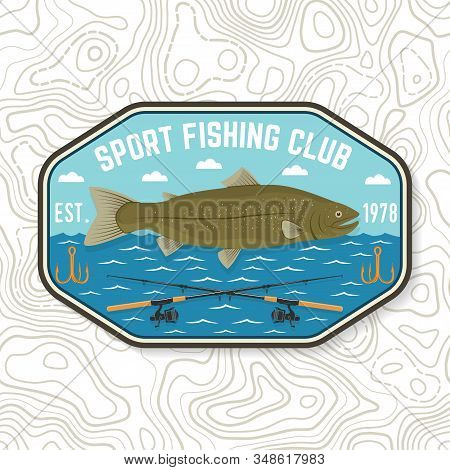 Fishing Sport Club Patch. Vector Illustration. Concept For Shirt Or Logo, Print, Stamp, Tee, Sticker