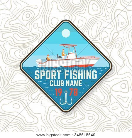 Sport Fishing Club Patch. Vector. Concept For Shirt Or Logo, Print, Stamp, Tee, Patch. Vintage Typog