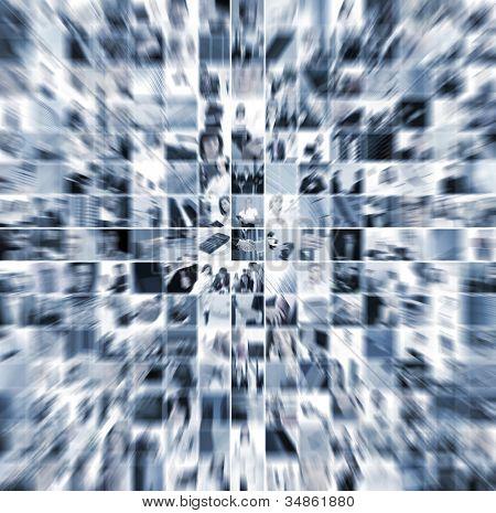 Geschäft Collage hergestellt aus 225 Geschäft Bilder