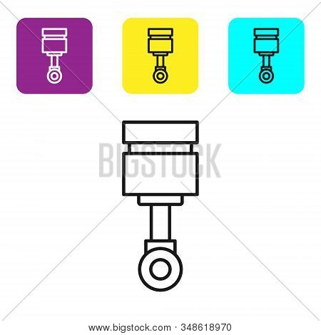 Black Line Engine Piston Icon Isolated On White Background. Car Engine Piston Sign. Set Icons Colorf