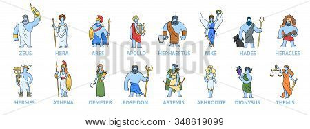 Pantheon Of Ancient Greek Gods, Ancient Greece Mythology. Set Of Cartoon Characters With Names. Flat