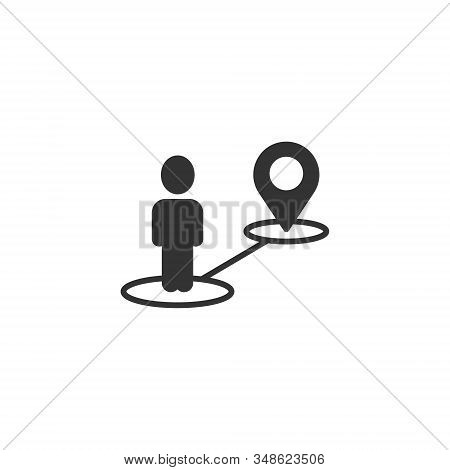 Map Pin Icon In Flat Style. Gps Navigation Vector Illustration On White Isolated Background. Locate