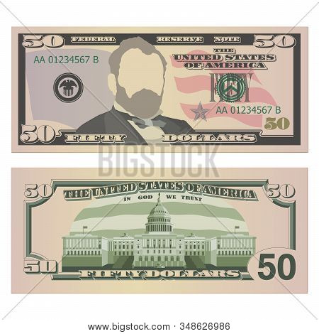 Fifty Dollar Bill On Both Sides. 50 Us Dollars Banknote, From Front And Reverse Side. Vector Illustr
