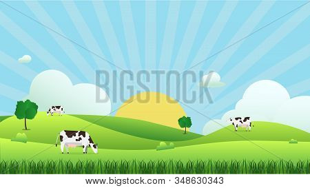 Meadow Landscape With Cow Eating Grass, Vector Illustration.green Field And Sky Blue And Sun Shine W