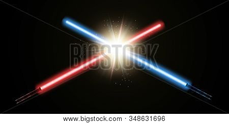 Stand Your Ground Law Concept. Fighting For The Own Beliefs. Crossed Blue And Red Light Swords An An