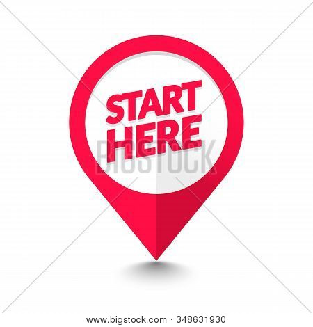 Vector Illustration Modern Flat Start Here Map Pointer Icon. Gps Location Symbol.