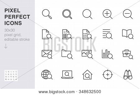 Search Line Icons Set. Zoom, Find Document, Magnify Glass Symbol, Look Tool, Binoculars Minimal Vect