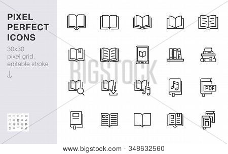 Book Line Icons Set. Open Books, Dictionary, Bible, Audio Novel, Literature Education Minimal Vector