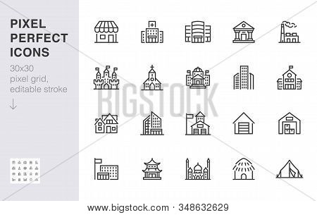 City Building Line Icons Set. Hospital, Hotel, Bank, Mall, Government Hall, Castle, Police Minimal V
