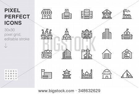 City Building Line Icons Set. Hospital, Hotel, Bank, Mall, Government Hall, Castle, Police Minimal V