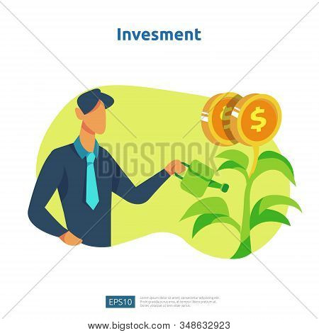 Finance Performance Of Return On Investment Roi. Income Salary Rate Increase Concept Illustration Wi