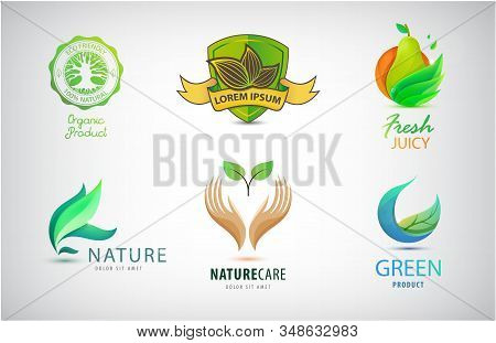 Vector Set Of Nature, Eco, Environment Logos. Landscaping Design Concept. Abstract Illustrations Wit