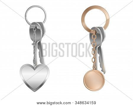 Key Bunch With Keychain On Metal Ring Isolated On White Background. Vector Realistic Mockup Of Round