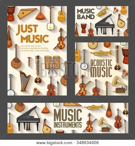 Classic Orchestra, Jazz And Folk Music Instruments Posters. Vector Acoustic Music Concert And Sound