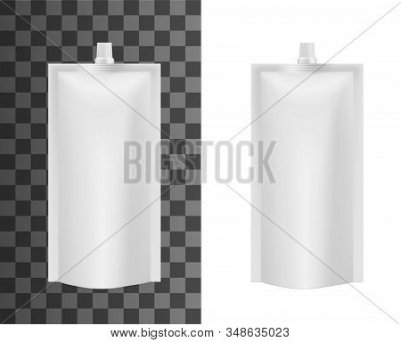 Foil Sachet Bag, Liquid Soap Or Food Sauce Package Mockup Template. Vector Isolated 3d White Doypack