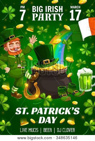 Saint Patrick Day Party, Irish Holiday Celebration Poster. Vector St Patrick Traditional Lucky Golde