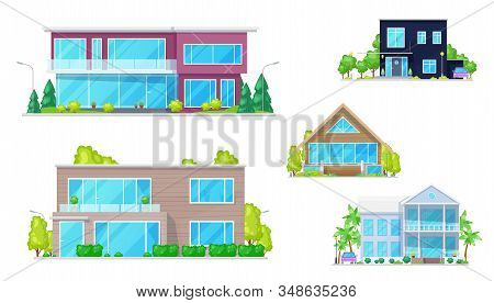 Private Buildings And Residential Homes, Village Real Estate Townhouses Vector Modern Residence Apar