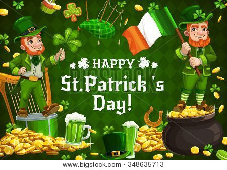 Happy Saint Patrick Day, Shamrock Pattern Background With Leprechaun And Ireland Flag. Vector St Pat