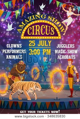 Vintage Circus Entertainment Show, Animal Tamers And Equilibrist Acrobats. Vector Big Top Circus Are