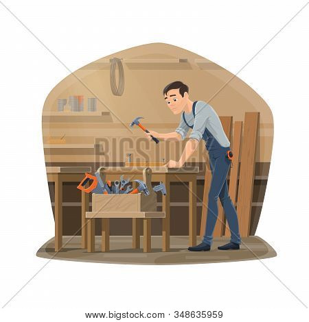 Carpenter Man At Workshop, Carpentry Woodwork And Furniture Making Tools. Vector Carpenter Man With