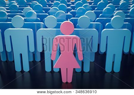 One Female Alone And Many Male Symbols In Background. Gender Inequality, Feminism And Discrimination
