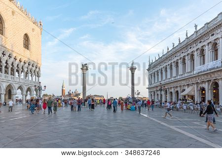 Venice, Italy - September 16, 2019: Aerial View Of San Marco Square With Tourists In Venice, Italy.