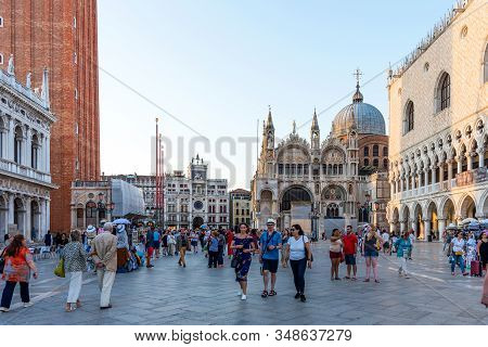 Venice, Italy - September 16, 2019: San Marco Square With Campanile And San Marco Basilica. The Main