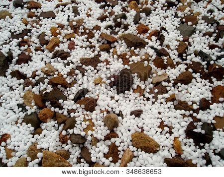 Hailstone, Hail On The Way With Stones, Autumn Winter Weather, Background, Ireland