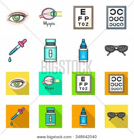 Isolated Object Of Optometry And Medicine Symbol. Collection Of Optometry And Diagnostic Stock Symbo